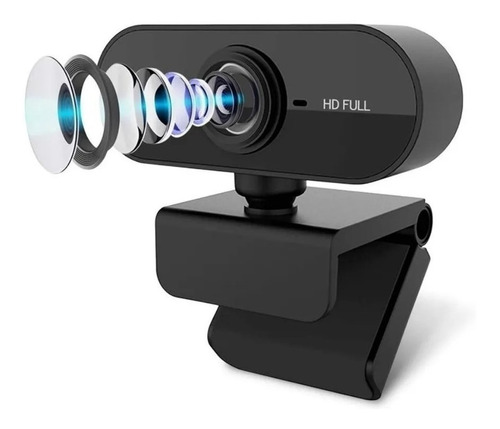 Webcam Preta Full Hd 1080p Usb Gira 360º Com Microfone Top