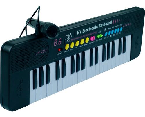 Teclado Musical Preto Com Microfone Infantil Menino Menina