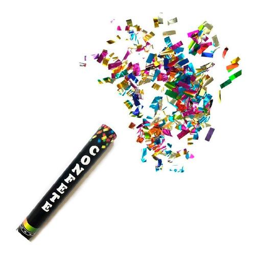 Lança Confete Estouro Festa Colorido - Dourado - Prata