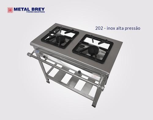 Fogão Industrial Aço Inox 430 Alta Pressão 2 Bocas 30x30