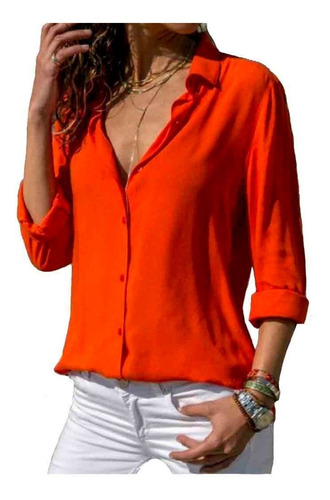 Camisa Básica Feminina  Blogueira Manga Longa Ref.15445
