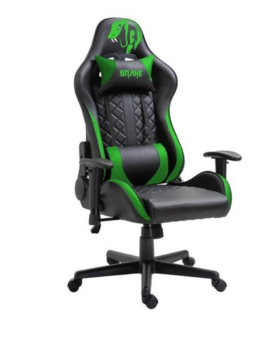 Cadeira Gamer Snake Mamba Negra Verde Reclinável - 9183