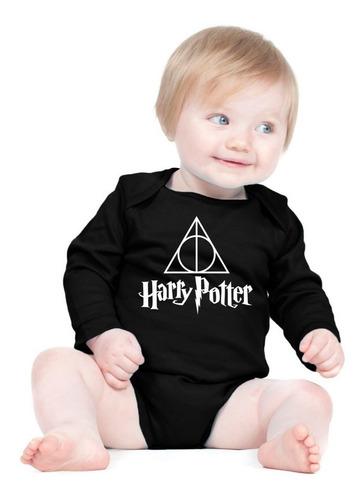 Body Harry Potter Logo Manga Longa Bebe Engraçado