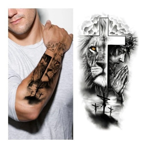 Tatuagem Temporária Masculina E Feminina Leão E Jesus Cristo