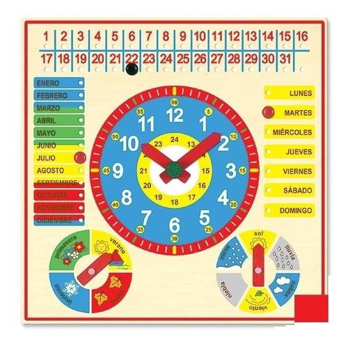 Reloj Calendario De Madera Para Niños