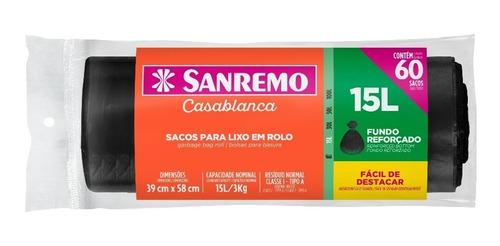 Saco De Lixo Preto Sanremo 15 Litros Com 60 Unidades