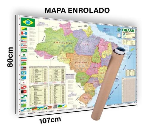 Mapa Brasil Politico Rodoviário Ou Mapa Mundi Enrolado Tubo