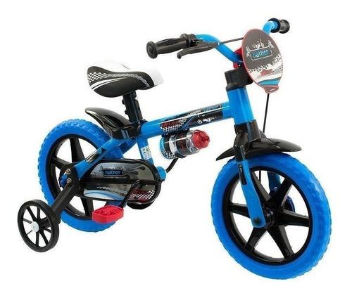 Bicicleta  Infantil Nathor Aro 12 Veloz Aro 12 Freio Tambor Cor Azul Com Rodas De Treinamento
