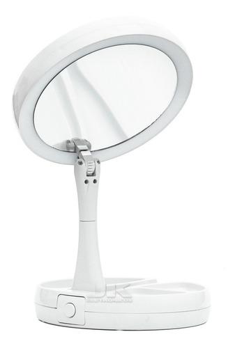 Espelho Camarim Duplo Led Maquiagem Mesa Portátil Dobrável