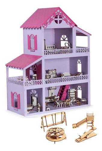Casinha De Boneca Lilás E Pink Mdf 36 Móveis +parquinho+led