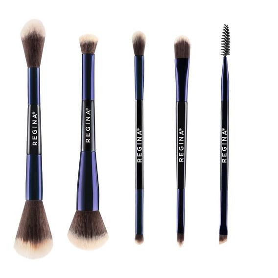Set De Brochas Maquillaje Doble Regina Etiqueta Azul