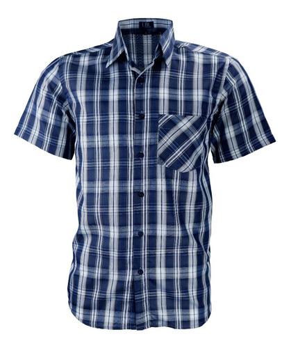 Camisa Xadrez Manga Curta Não Amassa Tecido Poliéster 3000