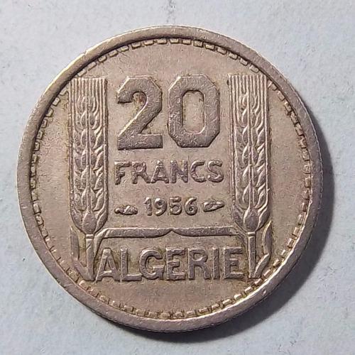 Argelia 20 Francos 1956 Exc Km 91 Escasa Colonia Francesa