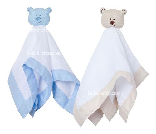 Naninha Paninho Bebê Dormir E Acalmar Kit 2 Urso Bege Azul
