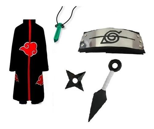 Kit Capa Akatsuki  Bandana Kunai Shuriken Colar Verde Naruto