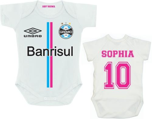 Body Infantil Menina Grêmio Personalizado Com Nome Do Bebê