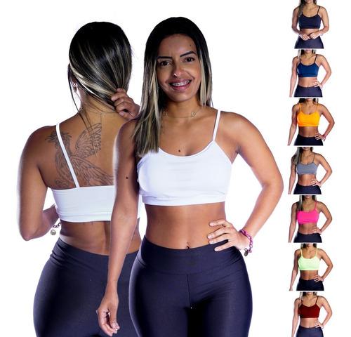 Top Fitness Academia Feminino Cross Fit Liso Detalhe Alcinha