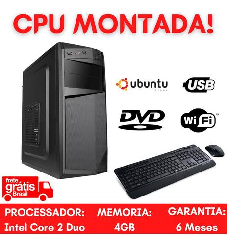 Cpu Desktop Core 2 Duo 4gb Hd500 Wifi Linux - Home Office!