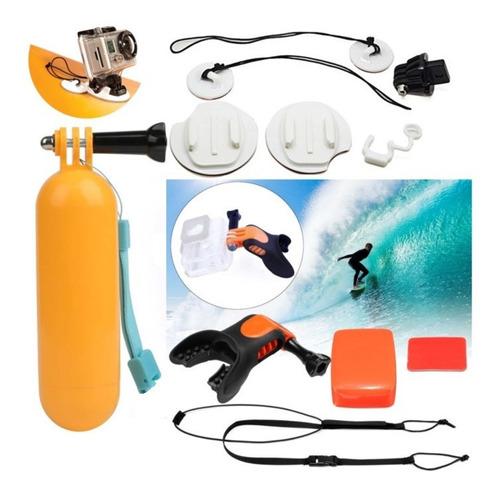 Kit Surf Flutuante Floaty Suporte Boca Mergulho Boia Gopro