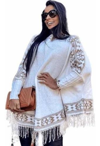 Poncho Blusa Manga Longa Feminina Kimono Tricot Inverno