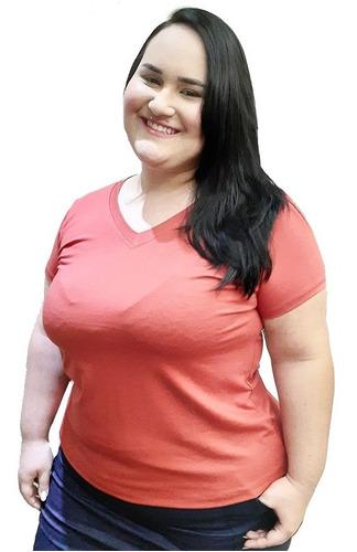 Blusa Camiseta Basica Feminina Fresquinha Plus Size Até G4