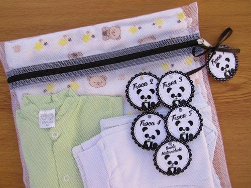Saquinho Maternidade Zíper 6 (peças) + Tag Panda