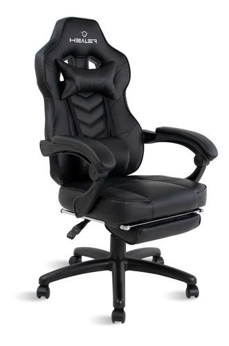 Cadeira Gamer Reclinável Com Apoio De Pés Alien Healer Preta