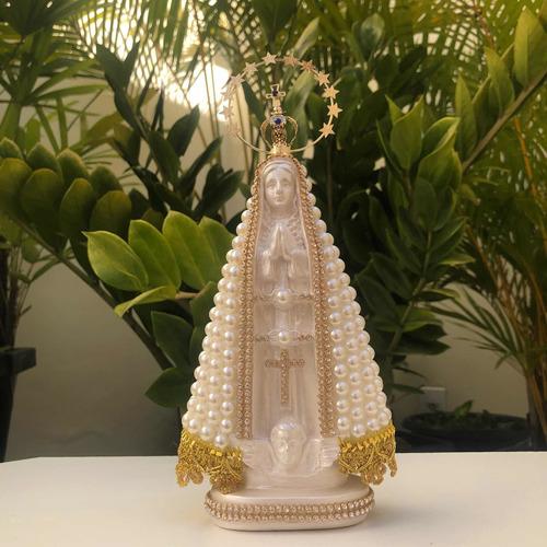 Nossa Senhora Aparecida Com Perola E Coroa Resplendor 23cm