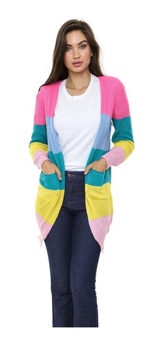 Cardigan Kimono Tricot Colorido Rainbow Arco Iris Tricô