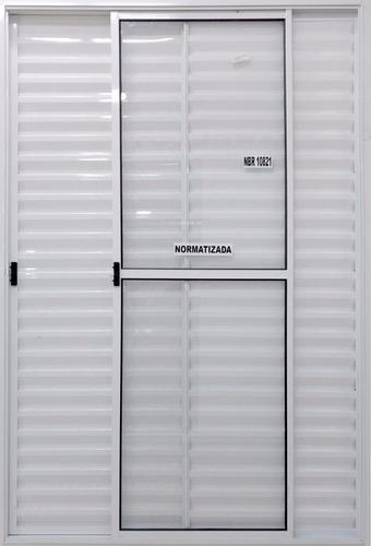 Porta Balcão 3 Fls 2,10x1,20 Alumínio Branco C/trinco