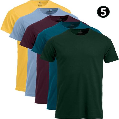 Kit 5 Camisetas Masculinas Slim Básicas Coloridas Premium