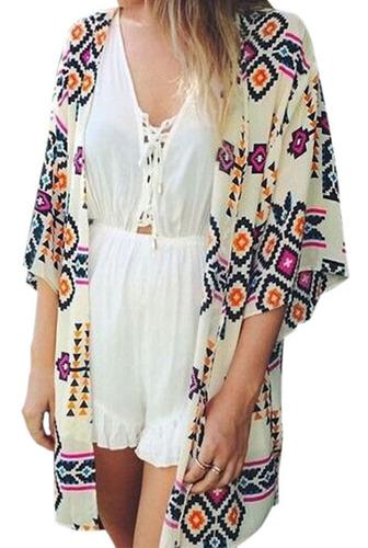 Mulheres Imprimir Chiffon Beach Cardigan Blusa Xale 8606