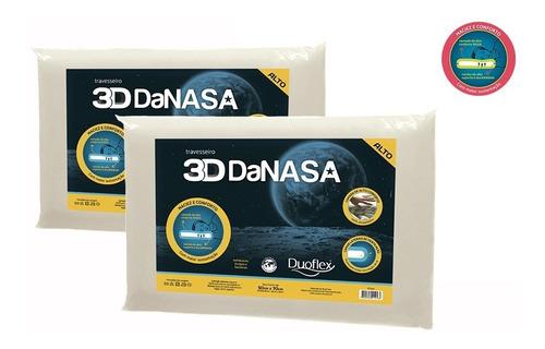 Kit Com 2 Travesseiro Da Nasa Alto 3d - Duoflex