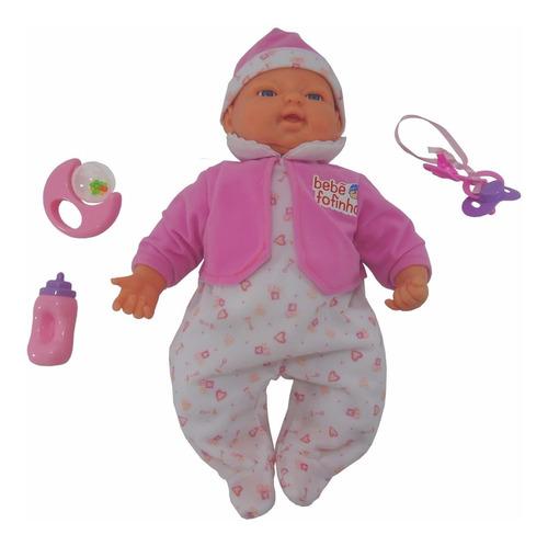 Boneca Bebê Fofinho C/ Expressão Chupeta Fala Chora Dorme Ri