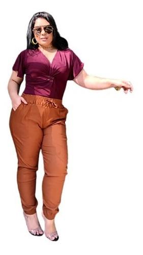 Calça Jogger Plus Size Feminina(com Lycra)+lindo Brinde