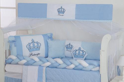 Kit Mini Berço Trança Coroa Realeza 12 Peças Menina Menino
