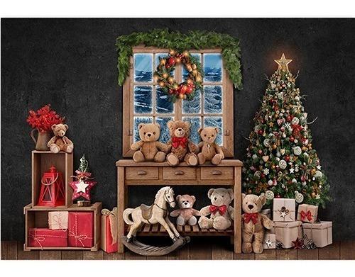Fundo Fotográfico Natal Brinquedos Tecido 2, 6x1, 7m Fnt 695