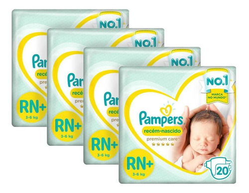 Kit Fralda Pampers Premium Care Recém Nascido Plus Com 80 Un