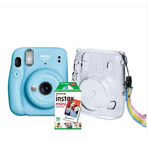 Kit Câmera Instax Mini 11 Azul Bolsa Crystal 10 Filmes