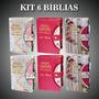 Kit 6 Bíblia Letra Gigante Botão E Caneta C/ Harpa 14x21