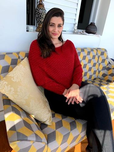 Blusa Croped De Lã Vermelho