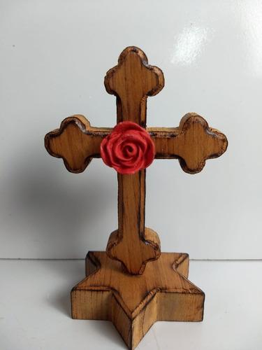 Cruz Rosa Cruz De Madeira Nobre Maciça Rosacrucianismo 15 Cm