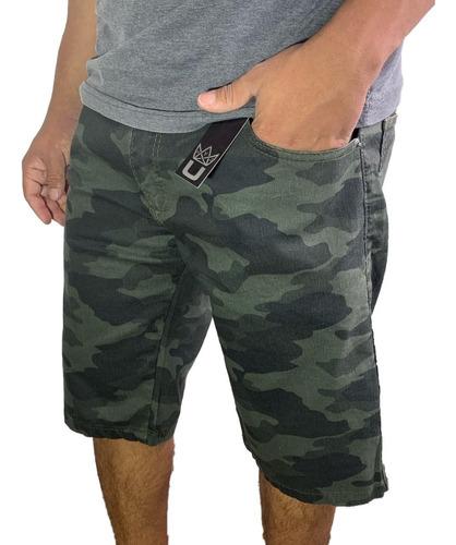 Bermuda Shorts Camuflado Jeans Sarja Lycra Colorido Oferta