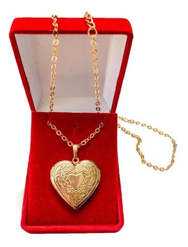 Colar Corrente Relicário Coração Folheado A Ouro Com Estojo