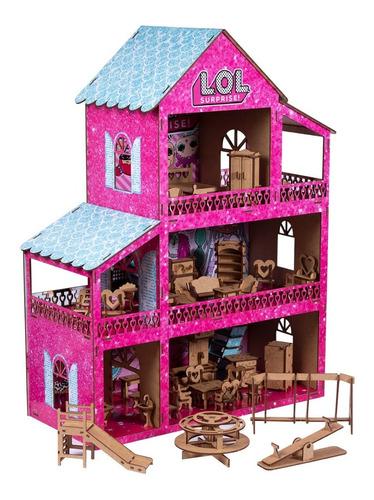 Casinha De Boneca Polly Pintada+36 Móveis+parquinho Montada