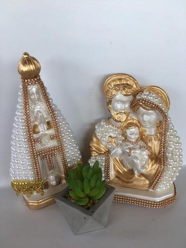 Sagrada Família 20 Cm De Pérolas + Nossa Senhora Aparecida