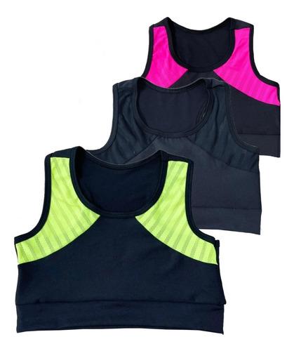 Kit 3 Cropped Feminino Top Fitness Academia Treino Musculção