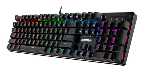 Teclado Gamer Soul Xk800 Qwerty Content Blue Inglés Us Color Negro Con Luz Rgb