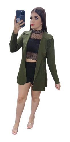 Blazer Alongado Feminino Max Acinturado Cores 2020  Ref 309
