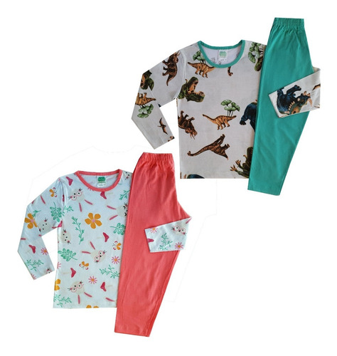 Kit Com 5 Pijamas Infantil Juvenil Menina Menino De Algodão